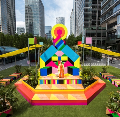 Morag Myerscough's Sun Pavilion set to shine bright at Canary Wharf this summer
